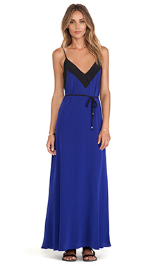 Karina Grimaldi Soria Combo Maxi Dress in Persian Blue