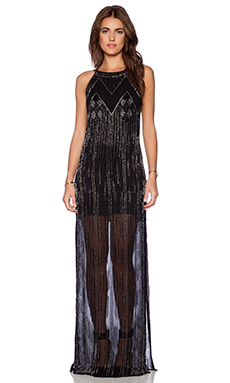 Karina Grimaldi Noemi Beaded Maxi Dress in Black