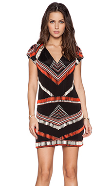 Karina Grimaldi Blake Beaded Dress in Coral & Black