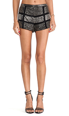Karina Grimaldi Studded Beaded Shorts in Black