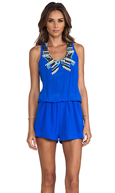 Karina Grimaldi Aires Beaded Romper in Royal