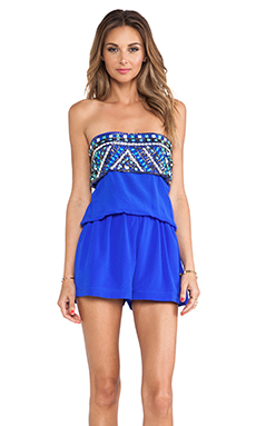 Karina Grimaldi Connie Beaded Romper in Cobalt