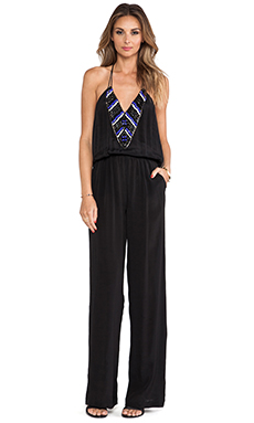 Karina Grimaldi Palmer Beaded Jumpsuit in Black