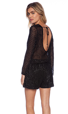 Karina Grimaldi Catalina Beaded Romper in Black