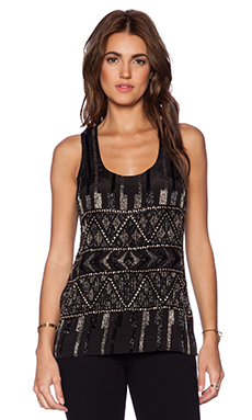 Karina Grimaldi Guadalupe Beaded Tank in Ethnic Black