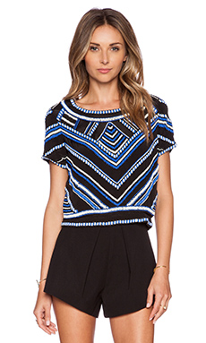 Karina Grimaldi Eli Beaded Top in Black & Blue