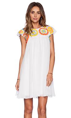 K A S New York Akma Mini Dress in White & Multi