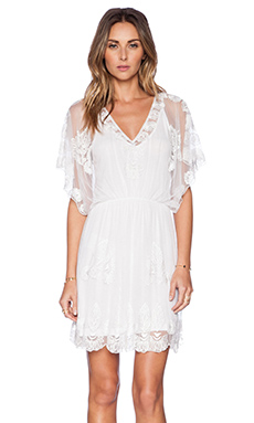 K A S New York Kayi Short Sleeve Mini Dress in White