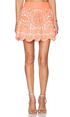 K A S New York Evetta Mini Skirt in Coral