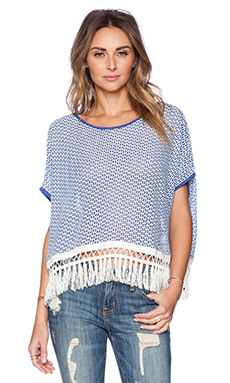 K A S New York Laila Fringe Top in Blue