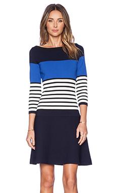 Kate Spade New York Striped Scuba Dress in Rich Navy Multi