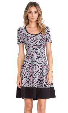 Kate Spade New York Cyber Cheetah Sweater Dress in Big Smoke