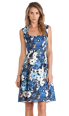 Kate Spade New York Autumn Floral Scoop Neck Dress in Blue