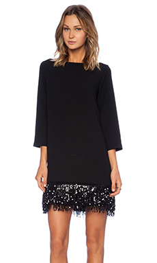 Kate Spade New York Sequin Fringe Mini Dress in Black