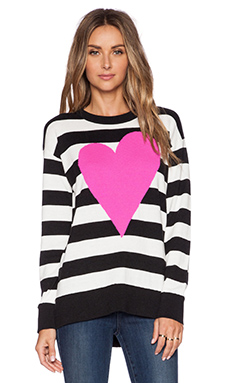 kate spade new york Intarsia Heart Stripe Sweater in Charcoal