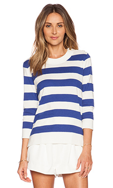 kate spade new york Stripe Sweater in Fresh White & Hyacinth