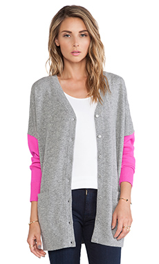 Kate Spade New York Oversize Wool Cardigan in Big Smoke Grey Melange & Vivid Snapdragon