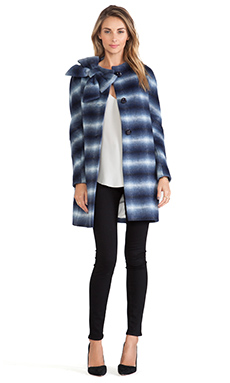 Kate Spade New York Check Dorothy Coat in Blue