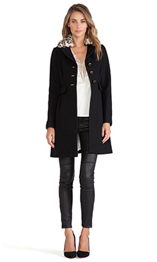 Kate Spade New York Faux Fur Collar Dresscoat in Black