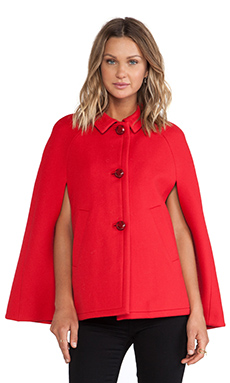 Kate Spade New York Wool Capelette in Orient Red