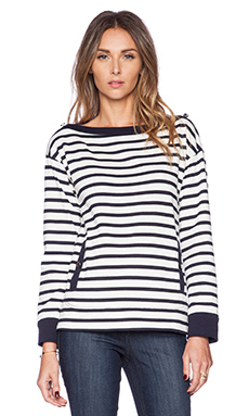 Kate Spade New York Stripe Pocket Top in Rich Navy