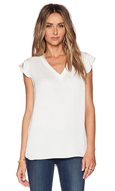 kate spade new york Flutter Sleeve Top in Open White