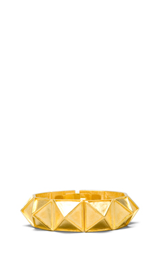 Kenneth Jay Lane Brushed Geometric Bangle in Satin Gold