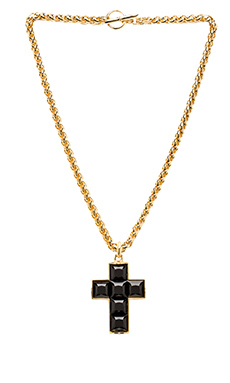 Kenneth Jay Lane Thick Chain Cross Necklace in Gold & Jet Stone