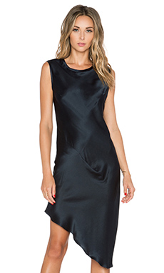 KES Asymmetric Drape Dress in Midnight