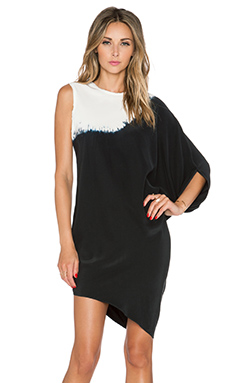 KES Single Sleeve Drape Dress in Dip Dye