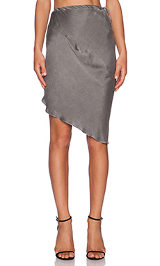 KES Asymmetric Drape Drawstring Skirt in Graphite