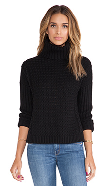 Kingsley Cashmere Cozy Turtleneck Sweater in Jet Black