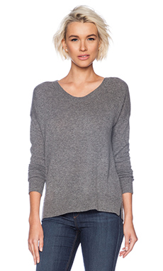 Kingsley Cashmere Scoop Neck Sweater in Charcoal