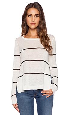 Kingsley Striped Linen Sweater in White & Black
