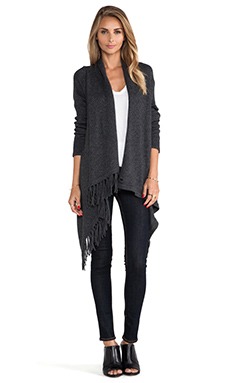 Kingsley Fringe Wrap Sweater in Marcasite