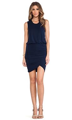 krisa Wrap Skirt Tank Dress in Navy