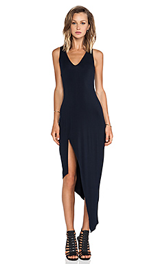 krisa Asymmetrical Racerback Maxi Dress in Black