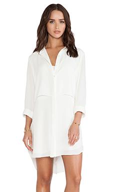 krisa Long Sleeve Shirt Dress in Ivory