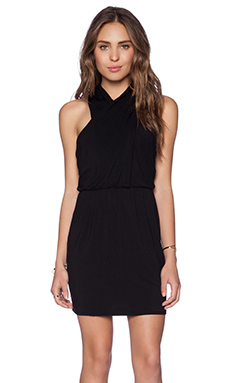 krisa Cross Front Tank Dress in Black