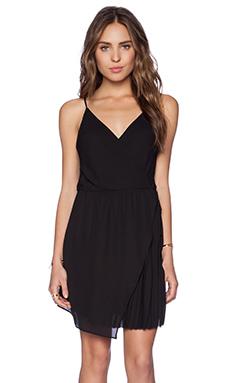 krisa Pleated Wrap Dress in Black