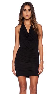 krisa Drape Halter Mini Dress in Black