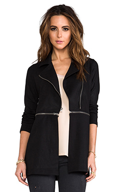 krisa Coated Zip-Off Moto Jacket in Black
