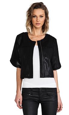 krisa Coated Short Sleeve Jacket in Black