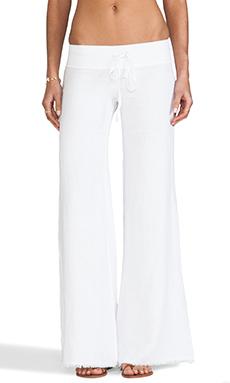krisa Wide Leg Linen Pant in White