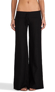 krisa Wide Leg Linen Pant in Black
