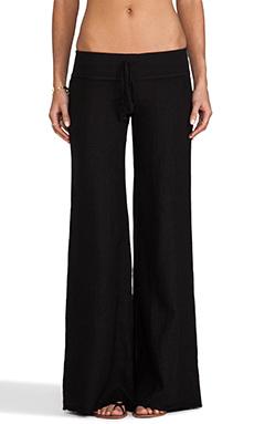 krisa Wide Leg Linen Pant in Black