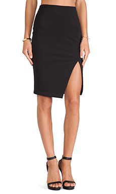 krisa Twill High Waisted Pencil Skirt in Black