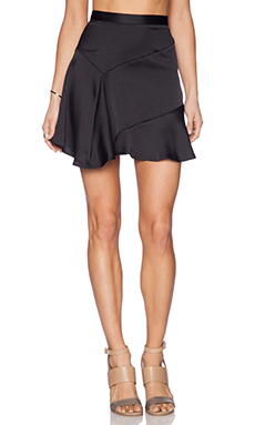 krisa Backford Ruffle Mini Skirt in Black