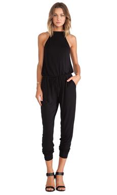 krisa Mock Neck Jumpsuit in Black