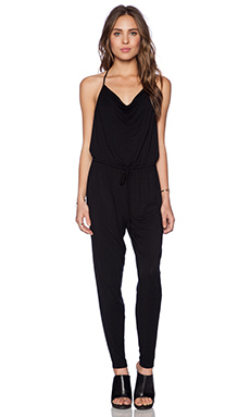 krisa Drape Jumpsuit in Black